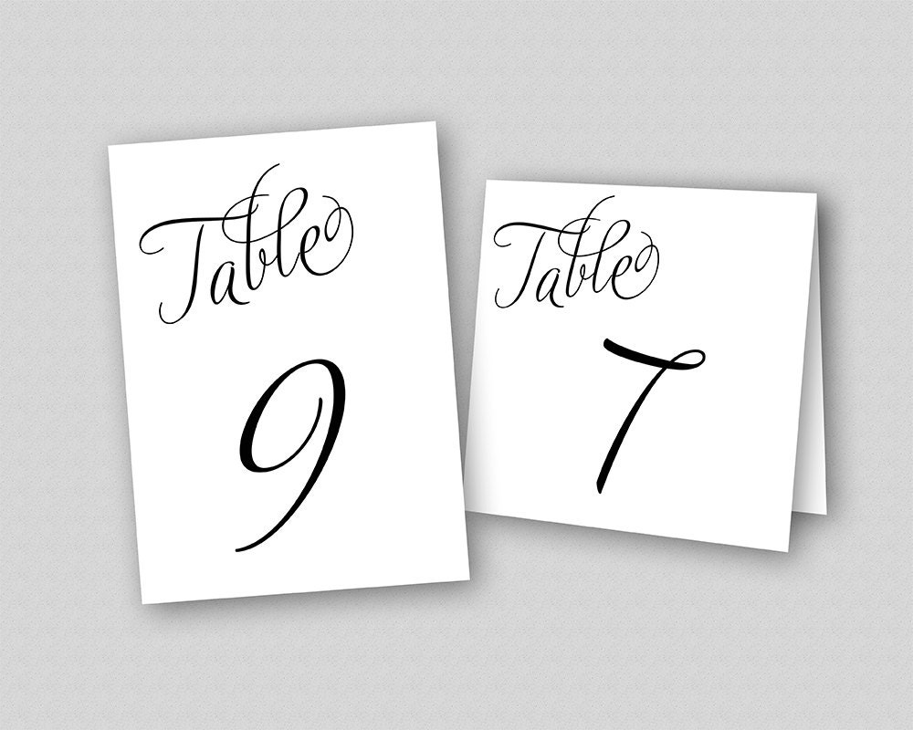 Calligraphy wedding table numbers printable