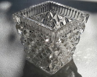 Square cut glass container