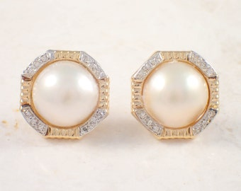 14K Yellow Gold Mother of Pearl and Diamond Earrings, Vintage Earrings, Pearl Earrings, Cluster Earrings, Estate Jewelry