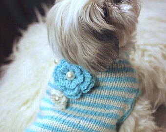 Small Dog Sweater - Shih Tzu - Maltese - Poodle - Boston Terrier - Hand Knit -