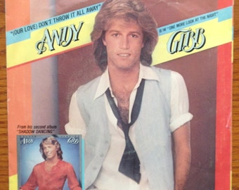 "Andy Gibb vinyl record- (Our Love) Don't Throw It All Away/One More Look At The Night"" 45 rpm vinyl single.  70's pop music, disco music"