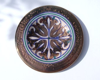 Vintage Spanish Hispano Moresque Reflejos Revival Lustreware Dish- 1960's Signed Spanish Studio Art Pottery With Copper Lustreware Decor