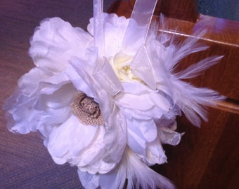 Rustic Burlap and Lace Pomander Flower Girl Ball Wedding Bouquet