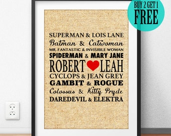 Superhero Print, Superman, Batman, Burlap Print, Personalized Gift for Couples, Anniversary Gift, Wedding Gift, Boyfriend Husband Gift, CM78