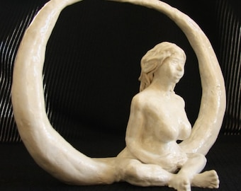 Moon Goddess ceramic statue Original art piece inspired by motherhood and the moon white glazed fired clay 'Made to order'