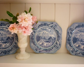 """PAIR of Blue & White Scallop Square Johnson Bros English China Side/Lunch/Salad Plate """"Historic America at Washington"""""""