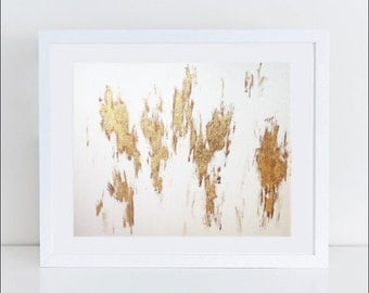 """Gold and White Abstract Painting (16"""" x 20"""")"""