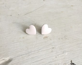 Vintage Earrings - Pale Pink Heart Stud Earrings - Simple Pink Heart Shaped Earrings, Heart Jewelry, Heart Accessory