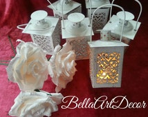Set of 6 Lanterns,Lace lantern,Mini lantern,Wedding Centerpiece, Candle Lantern, Beach Wedding Decor, Wedding Lighting,candleholder