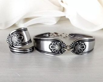 Dinnerware Spoon Bracelet and Matching Ring Set