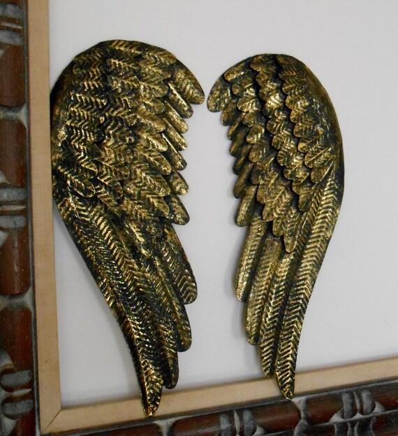Angel Wings Home Decor: Black And Gold Angel Wings / Metal Angel Wings By