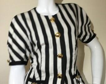 1980s 90s Vintage Basler Black White Stripe Jacket Blouse Top Shirt Gold 10