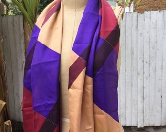 Large Long Silk Thirkell Scarf Vintage 1960s