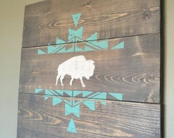 Baby Boy Wood Aztec/Buffalo Sign