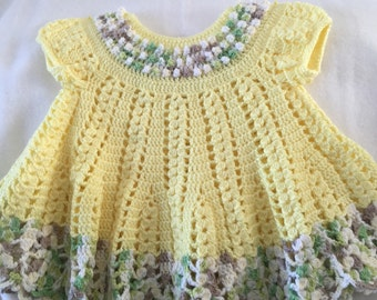 Crocheted yellow baby girl dress
