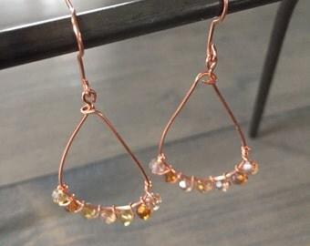 Teardrop copper crystal earring