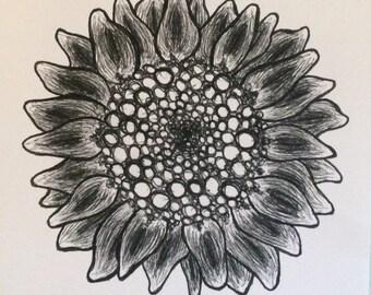 "Floral ""Sunflower"" Illustration Art Print"