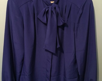 Vintage 1980's Career Collection Royal Blue Blouse with Bow detail Size US12