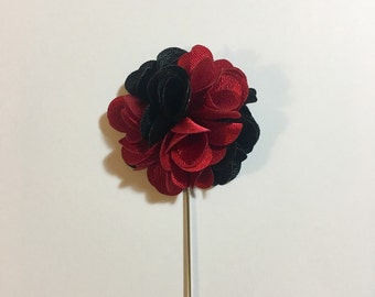 Lapel Flower Red & Black