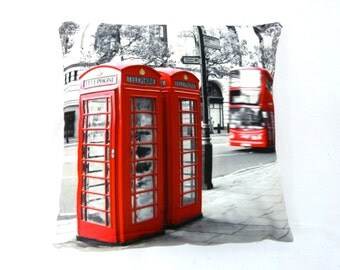 RED PHONE BOXES printed cushion cover