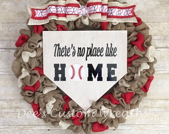 baseball wreath, baseball burlap wreath, theres no place like home, baseball, burlap wreath, front door decor
