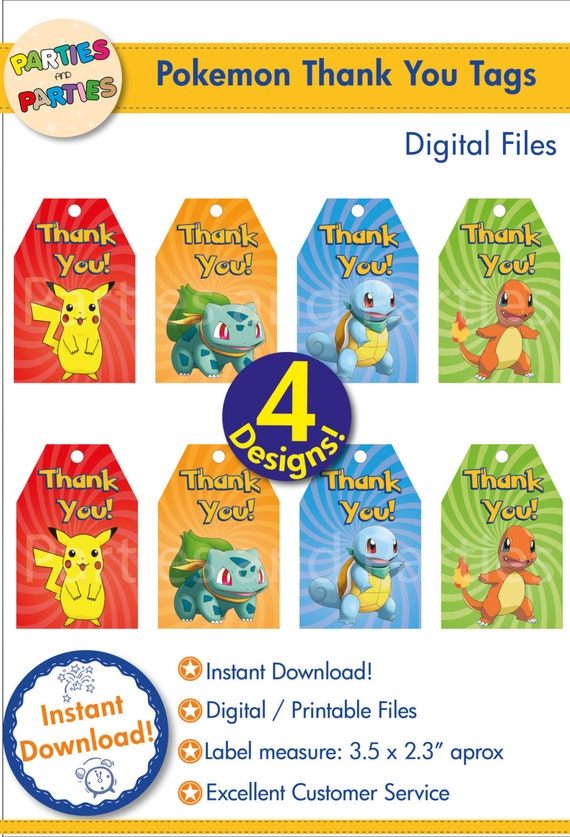 50% OFF - Pokemon Thank you Tags, Printable Pokemon Thank you tags ...