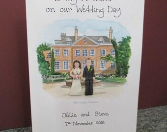 Personalised Wedding Card - Painting of Venue