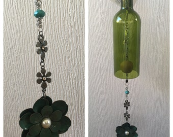 Green Flower with Pearl Handmade Wind Chime made from a Recycled Wine Bottle