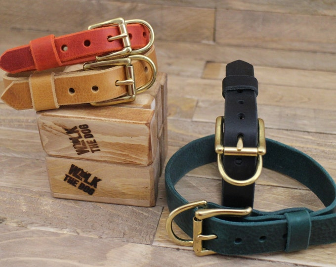 Adjustable collar, FREE ID TAG, Whiskey leather collar, Dog collar, Handmade personalized gift, Collar, Gold hardware leather collar.
