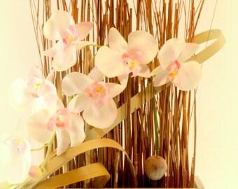Floral Arrangement. White Flowers. Floral Arrangement to Table.