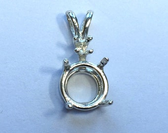 Sterling Silver Round Shape Single Accent Wire Mount Pendant (4mm-16mm) . 161-011