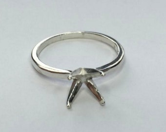 Sterling Silver 5, 6, 7 or 8mm Round Ladies 4 Prong Deep-Vee Pre-Notched Ring Size 4, 5, 6, 7 & 8 (#163-271)