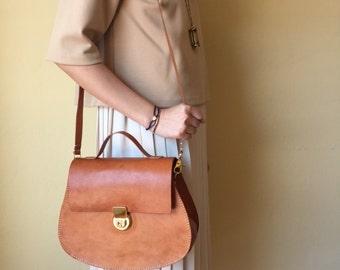 Caramel Brown Color Saddle Bag / Satchel Bag / Cross Body Leather Bag