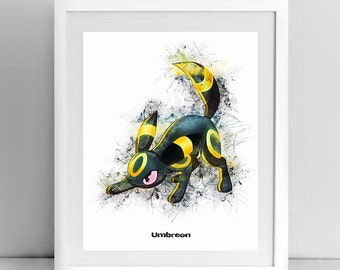 Umbreon, Watercolor drawing Pokemon, POKEMON Line Drawing, 8x10, by janovelty