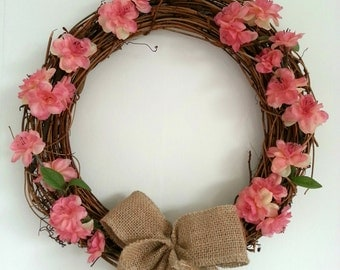 Artificial Pink Blossom Flower Wicker Wreath