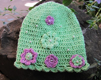 New baby born hat,crochet baby hat,cotton crochet hat,kiwi green, violet,handmade crochet hat
