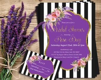 Invitation, Bridal shower, Birthday, Purple, flowers, black and white striped, digital flie, printed invitation