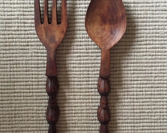 Mid century wooden fork and spoon kitchen wall decor (large size)