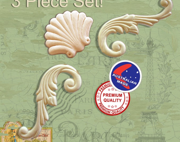3 Piece Set  Sea Shell  2 x Matching Scrolls French Provincial Ornamental Furniture Mouldings,  Appliques Decorations Resin / Wood Appliques
