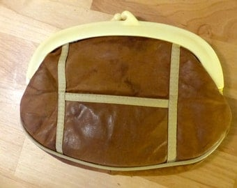 Vintage 70's Leather Clutch bag with Kiss Lock Lucite Closure Made in Hong Kong