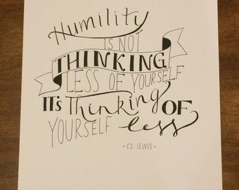 Hand- Lettered CS Lewis Quote