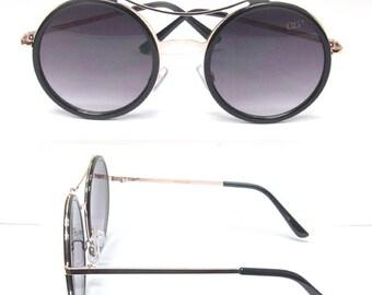 Ultra violet protection gradient round sunglasses (BLACK)