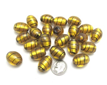 22 Handmade Oval Lampwork Beads 20 x 14mm in Gold Foil/Black (B90h1)