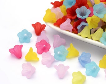 100 Colorful Flower Acrylic Beads  15mm x 10mm (B22)
