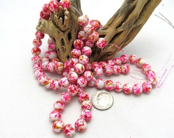 1 Strand Spray Painted Mottled Glass Beads 8mm Pink/White/Orange (B24a3/84c5)
