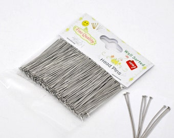 "1 Packet(300PCs) Well Sorted Silver Tone Head Pins 4.5cm(1-3/4"") (B45b)"