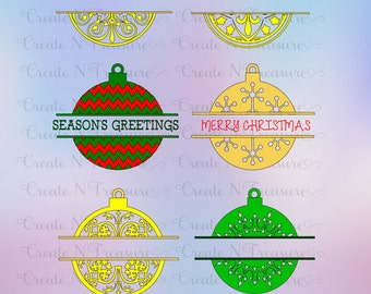 Christmas Ornament Monogram SVG, DXF. Cutting files for Silhouette cameo and Cricut design space. Chevron ornament monogram svg, dxf