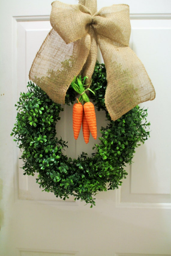 Easter Faux Boxwood Wreath Spring By Lovelywreathdecor On Etsy