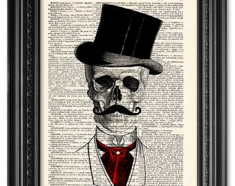 Skull art, Skull print, Dictionary art print, Vintage book art print, upcycled dictionary page, Home Wall Decor, Gift poster [ART 101]