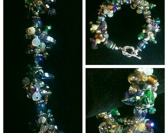 Super Chunky Crystal And Glass Beads Bracelet